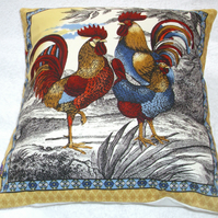 Cockerels and Hen on a farm at sunrise cushion