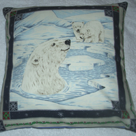 In the Wild Polar Bear and Cubs in  Winter cushion