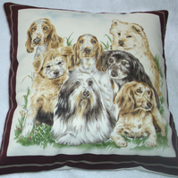 Puppy dogs meeting in the garden cushion