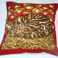 A brown tabby cat curled up in the straw with apples cushion