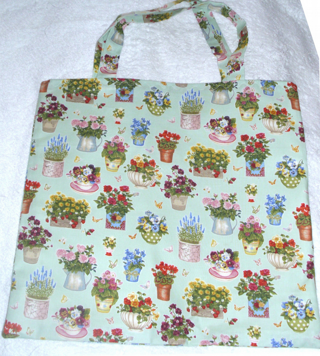 Pretty flowering plants cloth shopping bag