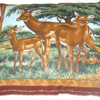 On Safari Gazelles under trees cushion