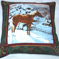 Winter in the Countryside with a horse on a hill cushion