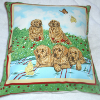 Golden Retrievers and pups in the garden cushion