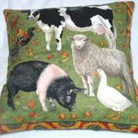 On the Farm Cow , sheep, pig , goose and hens cushion