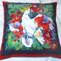 Parakeet in a tropical forest cushion