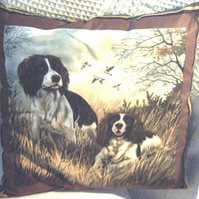 Two Springer Spaniels ready and waiting cushion