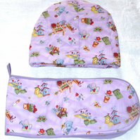In the Garden tea cosy and oven glove set