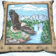 Eagle flying over a river cushion
