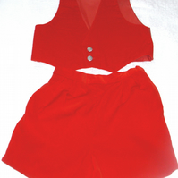 Red velvet waistcoat and shorts set for child age five to six