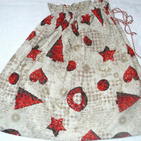 Christmas trees, stars and hearts Santa Sack
