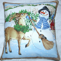 Mr Snowman and friend cushion