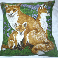 Fox and cubs in the Bluebell wood cushion