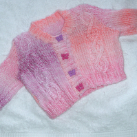 Hand knitted pink cable knit cardigan for 3 to 6 month baby