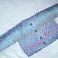Hand knitted blue coat for 3 to 6 month old baby