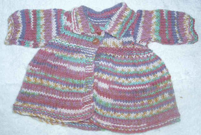 hand knitted multi coloured coat for  38 cm rag doll