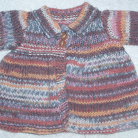 hand knitted heather mix coat for  38 cm rag doll