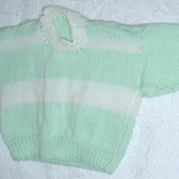 Hand knitted striped jumper for 6 month baby
