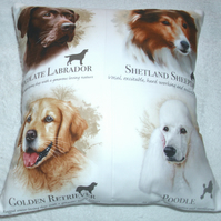 Chocolate Labrador, Sheltie, Golden Retriever and Poodle portraits cushion