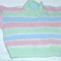 Hand knitted pastel striped jumper for 6 month baby
