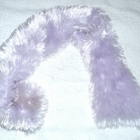 Hand knitted pale lilac scarf