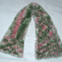 Hand knitted pale pink and green scarf