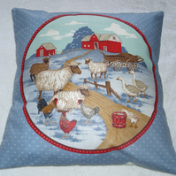 On the Farm sheep, hens and geese cushion