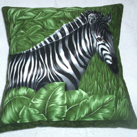 On Safari Zebra in greenery cushion