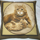 beautiful ginger cat and kitten cushion