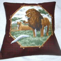 On Safari  Lions and Lioness on a  grassy plain cushion