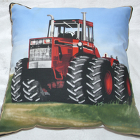 On the Farm Red Tractor in field cushion