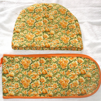 Bright Yellow flowers Tea cosy and oven gloves