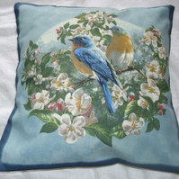 Bluebirds in the Apple tree cushion