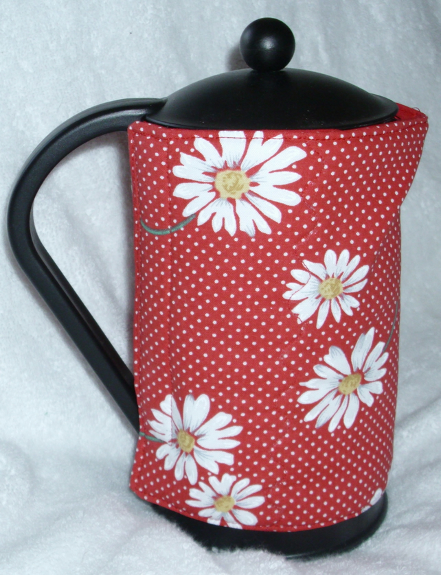 Bright white Daisies on red cafetiere wrap