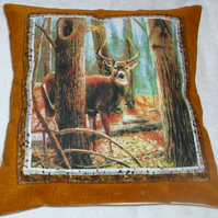 Deer Stag in Autumnal Forest Cushion