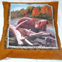 Bears fishing in a fast flowing river cushion