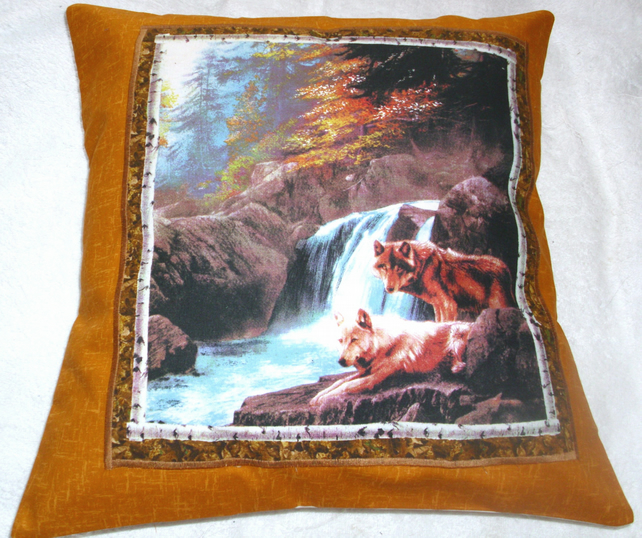 Wolves standing by a river in Autumn cushion