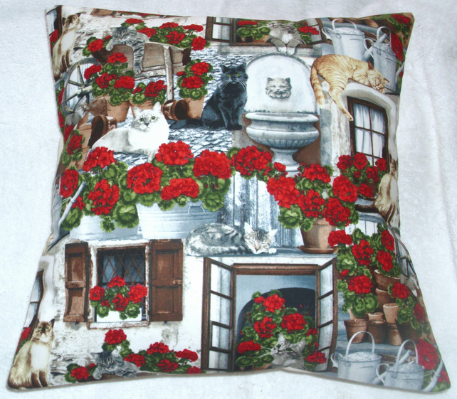 Front Porch Cats and Geraniums cushion