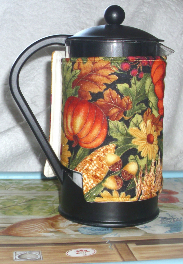 Autumnal fruit and flowers cafetiere wrap