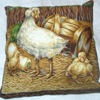 On the farm Duck and ducklings cushion