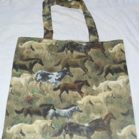 Trotting Horses lined cotton cloth shopping bag
