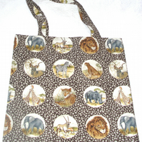 On Safari Wild Animals on brown shopping bag