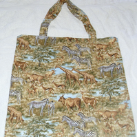 On Safari Animals on grassy plains shopping bag