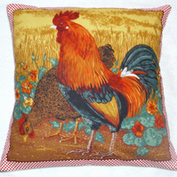 A Cockerel and hen in a field cushion