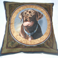 A lovely chocolate Labrador eagerly waiting cushion