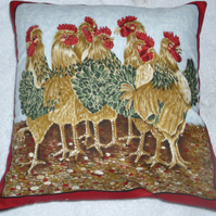 Crowd of hens in the farmyard cushion