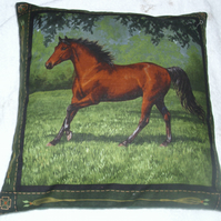 Chestnut Stallion trotting in a field cushion