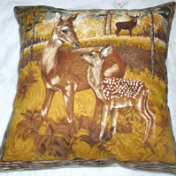 A Deer and Fawn in an Autumnal wood cushion