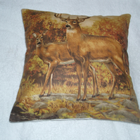 A Deer and Stag in an Autumnal wood cushion