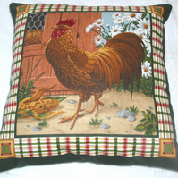 A Handsome Cockerel by hen coop in farmyard cushion